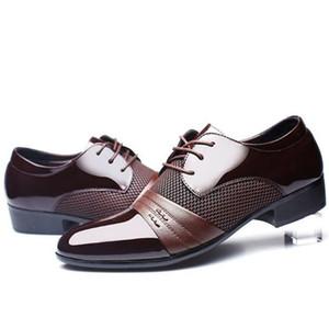 Человек платье обувь плоская обувь роскошный мужской бизнес оксфорды повседневная обувь черная / коричневая кожа заостренная обувь