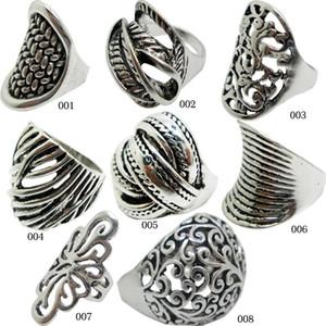 2015 Satış 925 Ayar Gümüş Çok Stilleri Antik Gümüş Yüzük Halat Kablo Tel Yüzükler Çinko Alaşım Takı Vintage Yüzükler Kadınlar Için