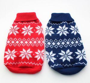 الشحن مجانا! الأحمر / الأزرق تصميم سترة عيد الميلاد الكلب رقائق الثلج ، الحيوانات الأليفة البلوز معطف الملابس الملابس ، 5 أحجام / XS S M L XL5 الأحجام المتوفرة