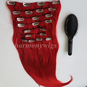 160g 10pcs / 1Set Clip in sui capelli Extension Red color brasiliani indiani Remy capelli umani 20 22 pollici