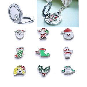 Christmas DIY Glass Locket Pendant Jewelry Accessories Memory Locket Bracelet Floating Charms 9 styles Locket Jewelry