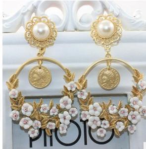 серьги diamond pearl flower lady (88) ltj