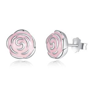 Elegant Pandora Style Roses Aretes de plata con esmalte rosa genuino 925 Sterling Silver Flower Aretes para mujer ER001