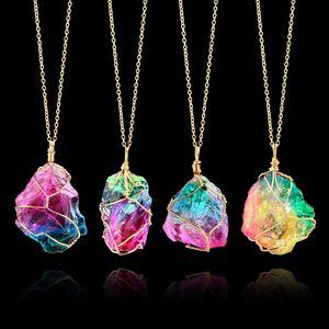 Tingimento de Colar de Pingente de Pedra Natural Druzy Cura de Energia Drusy Colares de Cristal De Quartzo Fino Declaração de Jóias Para Mulheres Dos Homens