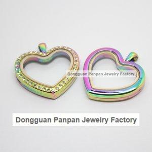 Medallón flotante con forma de corazón de panpan y arco iris Colgante de medallón magnético de acero inoxidable 316L