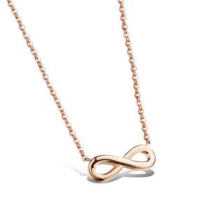 Moda Simple Rose Gold Infinity Symbol colgante Collares Mujer Cadena Infinity Charms Collar Eternity Colgantes Collar
