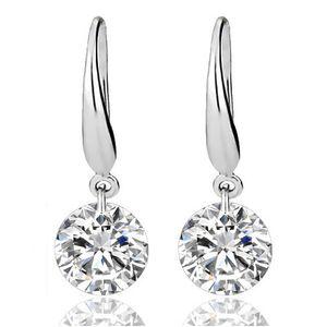 Sterling Silber Ohrringe Edelstein große lange baumeln geometrische Ohrringe Zirkonia Anweisung Kristall Ohrringe