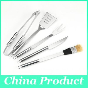 High Quality 5PCS BBQ Qccessories Stainless Steel Barbecue Tools Set Spatula Tongs And Fork Grill BBQ Grilling Tools Set 010236