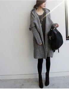 Femmes Hiver Long Manteaux De Chandail De Mode Cardigans Tricotés Survêtements Femmes Simple Lâche Chandails À Capuchon Manteaux Manteaux
