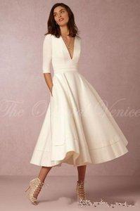2020 novo comprimento de chá curto vestido de noiva com mangas vestido de noiva curto sexy profundo pescoço de verão verão vestidos nupciais 047