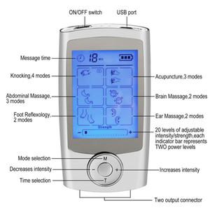 16 modları Sağlık Vücut Masajı Çİft Tens Makinesi Dijital Elektrik Terapi Akupunktur Massageador Stimülatörü Cihazı