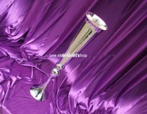 Novo sliver mental Trumpet Vase Para Peça Central Do Casamento, sliver Fluted Vase, vaso de flor de mosaico