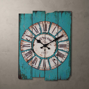 Country Style Light Blue wood Wall Clock 30*39cm 0201010