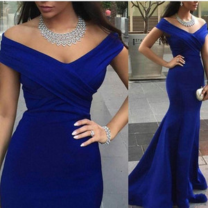 Charming Royal Blue Evening Abschlussball-Kleider Backless formale Partei-Kleider 2020 Gelegenheit Mermaid weg Schulter Capped Promi Arabisch Dubai