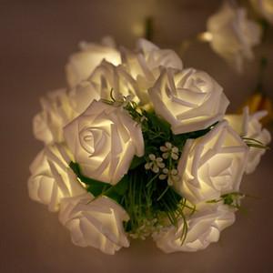 20 LED con pilas púrpura / rosa decoración de la flor de Rose Cadena boda jardín de la luz de Navidad Home Party Blanco / / azul / verde / blanco Led Cuerdas