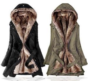 Sıcak satmak! Taklit kürk astarlı kadın kürk mantolar kış sıcak uzun ceket ceket elbise kadın Kabanlar