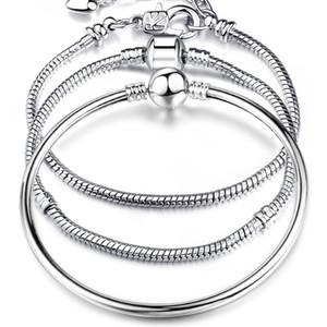 925 Sterling Silver LOVE Snake Chains Bangle Bracelet Fit cuentas europeas Charm Bracelet Para womenmen s Moda DIY Regalo de la joyería