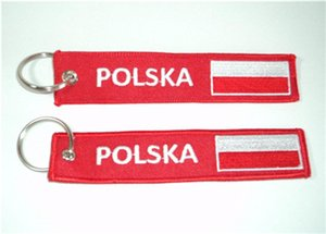 Embroidered POLSKA (Poland) With Polish Flag Double Sided Keyrings Keychains 13x2.8cm 100pcs lot