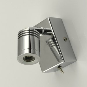 Topoch Headboard Reading Wall Lamp Minimalist Rotate Tilt Head Focusing Lens Stainless Steel Base Chrome Finish LED 3Watts