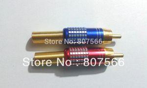 100 piezas de alta calidad Gold RCA Male Plug Solder Audio Video Adapter Connectors