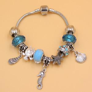 Nuovo arrivo gioielli all'ingrosso fai da te Ocean Beach Style Starfish conchiglia Seahorse Charm Bracelet per i regali di Natale gioielli