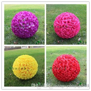 """30 CM 12"""" New Artificial Encryption Rose Silk Flower Kissing Balls Hanging Ball Christmas Ornaments Wedding Party Decorations"""