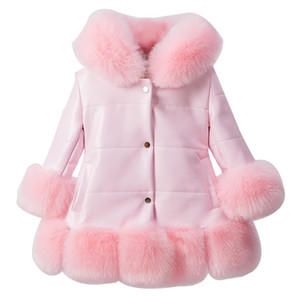 solid baby girl down coat cute faux fur overcoat for 2-12yrs girls children kids Winter jacket thick warm outerwear costume