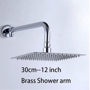 무료 배송! 12 인치 완벽한 새 스퀘어 욕실 스테인리스 강우량 크롬 브래스 샤워 헤드
