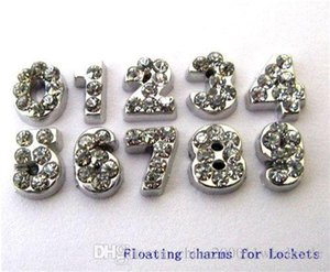 prezzo più basso ! 50pcs fascini galleggianti in lega di zinco e strass numeri 5-8mm per il locket spedizione gratuita