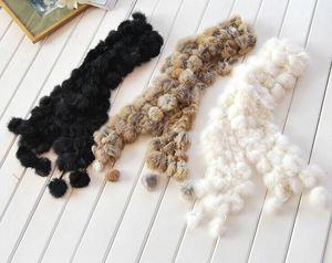 Nouvelles femmes hiver réel écharpe de fourrure de lapin dame occasionnels Echarpes fourrure 100% velours de fourrure de lapin boule style long