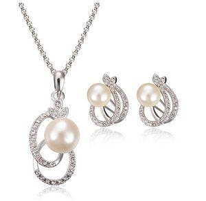 Moda Inci Kolye Earrrings Takı Seti Gümüş Kaplama Alaşım Kristal Inci Takı Kadınlar Için En Iyi Takı CAL11043I