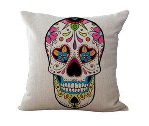 Halloween Skeleton Sugar skull Pillow Cases Cotton Linen cushion Cover Throw Pillow case Pillow cover Square Bedding sets Pillowslip