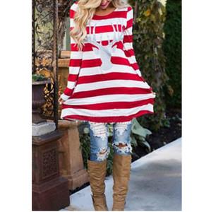 Femmes rayures elk robes imprimées noël manches longues automne automne habillage décontracté lâche filles robe