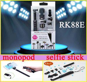 13in1 Bluetooth Selfie kits RK88E Bluetooth Selfie Stick RK 88E Bluetooth Einbeinstativ mit Smartphones LED Flash Weitwinkelobjektiv für Mobiltelefon