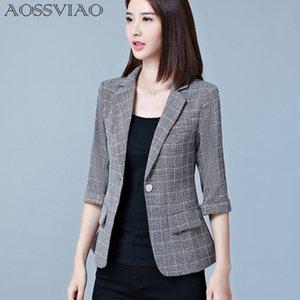 AOSSVIAO 2017 New Blazer Feminino Womens Plaid Tre quarti Abiti da lavoro Autunno All-match Donna Giacche Slim Blazer Suit