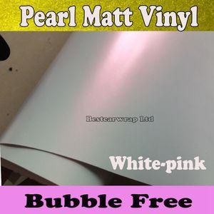 Envoltório de vinil branco pérola branco fosco branco-rosa perolado branco filme Matte envoltório carro folha adesivo Tamanho: 1.52 * 20M / Roll (5x66ft