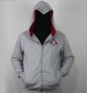 Sudaderas con capucha de Sportswear de la primavera y del otoño de los hombres Sudaderas con capucha creídas de Assassin Creed del gris de Assassin Creed de la sudadera con capucha de la cremallera para el hombre