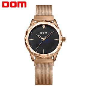 DOM Marke Luxuxfrauen-Quarz-Uhren Minimalism beiläufige Art und Weise weibliche Armbanduhr wasserdichtes Gold Steel Reloj Mujer G-1234GK-1M