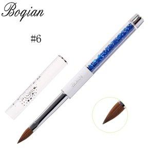 الجملة المهنية 1 قطع فرشاة الأظافر الفن الاكريليك 100٪ kolinsky السمور فرشاة 3d اللوحة القلم فرشاة الرسم # 6
