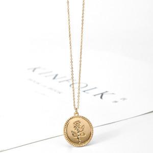Collar de Rose delicada del color oro pendiente redondo de la moneda geométrica cadena de la joyería Gargantilla partido de las mujeres collar del medallón Moda