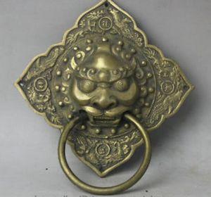 """Chino antiguo 7 """"aldaba de puerta de latón chino Foo Fu Dog Guardion Lion Dragon Phoenix estatua decoración de latón de fábrica"""