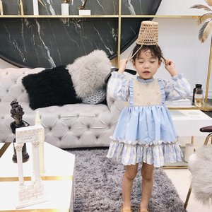 New Girl Kids Clothes Spain Style Elegant Dress Long Sleeve Plaid Design Back With Bow Princess Girl Spring Charming Girl Dress By0816