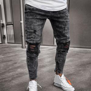 Feitong Top Brand Men Clothes 2019 Skinny Stretch pantalones de mezclilla apenado rasgados Freyed Slim Fit Jeans pantalones de hombre C19042101