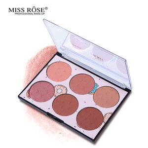 Miss Rose 6 colores mejilla Mineral Blush Palette impermeable Maquillaje Silky Polvos Colorete Bronceador contorno natural a largo duradera