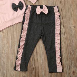 2PCS Toddler Baby Girl Clothes Outfit Ruffle Bowknot Long Sleeve Pink Sweatshirt Pants Newborn Kids Clothes Set