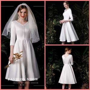 2020 nova chegada de cetim branco vestido curto casamento meia manga comprimento modesto joelho meninas petite vestidos de noiva informais vestidos de noiva venda quente