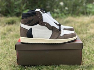 2020 New Offer Best Quality 1 High Travis Scotts Cactus Jack Suede Dark Mocha Basketball Shoes Men 1s Sneakers With Box