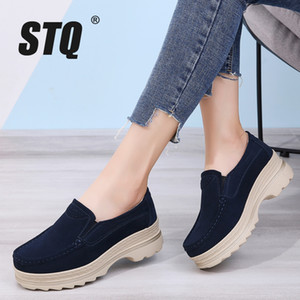 STQ 2020 Autumn Platform Sneakers Shoes Suede Leather Slip On Loafers Creepers Ladies Casual Flat Sneakers Shoes 3216