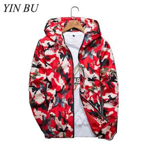 2019 Uomo Casual Camouflage Bomber Jacket Butterfly Hooded Windbreaker Outwear Steetwear Felpe bianche sul viso