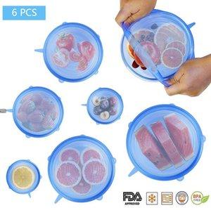 6pcs / set cubiertas de silicona reutilizable estiramiento tapas hermético abrigo del alimento Mantener sello elástico Bowl fresca cubierta del abrigo de cocina utensilios de cocina 4 colores
